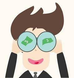 businessmen find money through telescope vector image