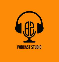 Bz monogram headphone and microphone style vector