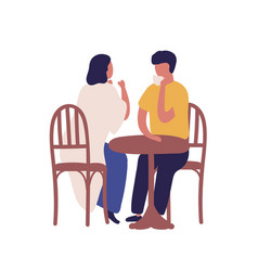 cartoon couple drinking coffee together sitting at vector image