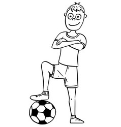 Cartoon of football soccer player posing with a vector