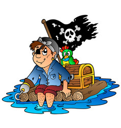 Cartoon pirate sailing on raft vector