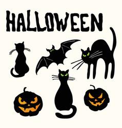 cats pumpkin lanterns bat and halloween title vector image