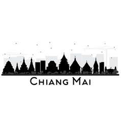 Chiang mai thailand city skyline silhouette with vector