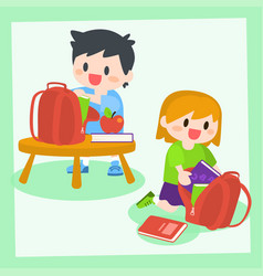 children boy and girl getting ready for school vector image