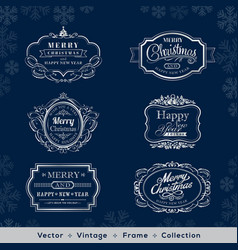 christmas and new year vintage silver frame vector image