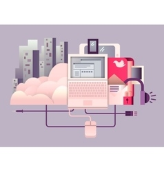 Cloud hosting design flat vector image vector image