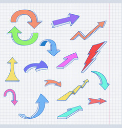 colored arrows cartoon doodles on lined paper vector image