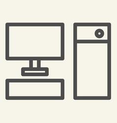 computer line icon pc vector image