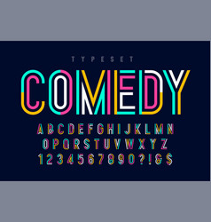 condensed colorful display font design alphabet vector image