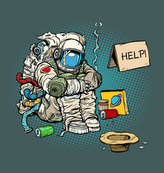 Crowdfunding concept a poor homeless astronaut vector