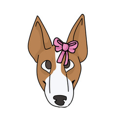 Cute cartoon bull terrier puppy face breed with vector