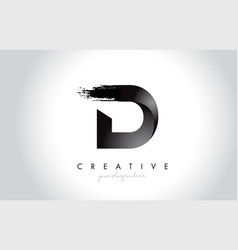 d letter design with brush stroke and modern 3d vector image