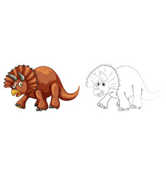 doodle animal for triceratops dinosaur vector image
