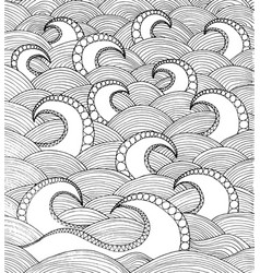 doodle sea waves hand drawing coloirng page book vector image