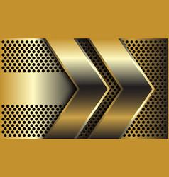 Double golden arrow direction on circle mesh vector