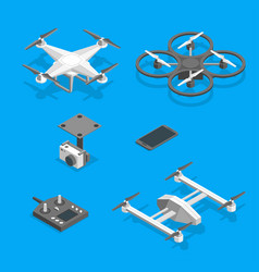 drones and equipment technology control set vector image