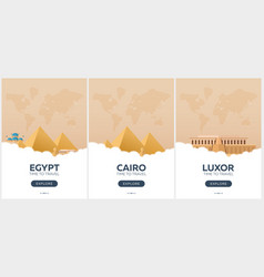 egypt time to travel set of travel posters vector image