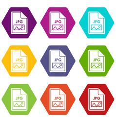 file jpg icon set color hexahedron vector image