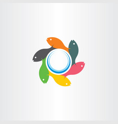 fish swimming in circle logo sign element vector image