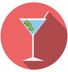 Flat design modern of cocktail icon with long vector image