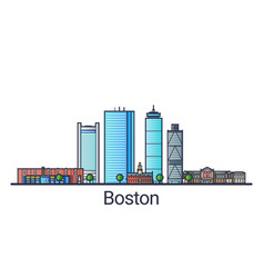 Flat line boston banner vector