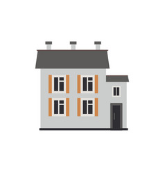 Flat private house cottage building vector