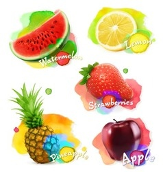 Fruit and berries watercolor set vector