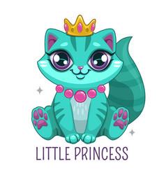Funny blue kitten wearing crown beautiful vector
