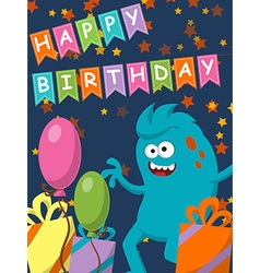 Funny monster with gifts and balloons Happy vector