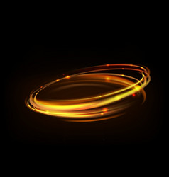 Glowing magic fire ring trace gold circle vector