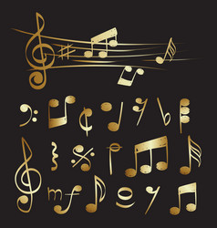 gold musical note set collection vector image