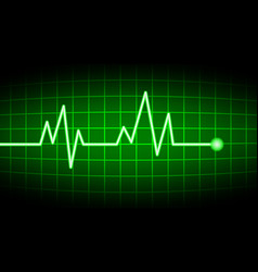green heart rate screen vector image