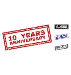 grunge 10 years anniversary textured rectangle vector image
