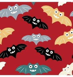 Halloween seamless pattern with colorful bat vector image