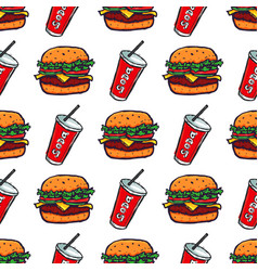 hand drawn burger and soda drink seamless pattern vector image