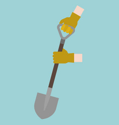 hand with gloves handle shovel digging vector image