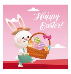 happy easter bunny basket egg pink background vector image