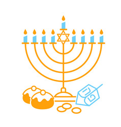 happy hanukkah on white background vector image
