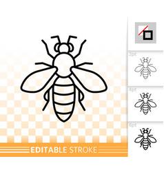 Honey bee simple black thin line icon vector