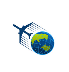 Icon of airplane flying around earth vector