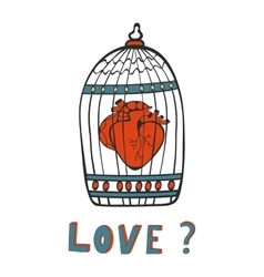 Is it Love Human heart in a cage vector