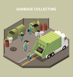 Isometric garbage recycling composition vector