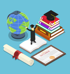 isometric smart people in graduation suit vector image