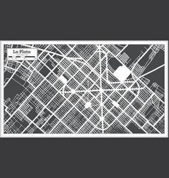 La plata argentina city map in black and white vector