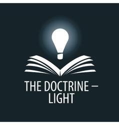 Logo lamp illuminates book vector