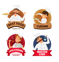 Logo or labels set for restaurant characters of vector