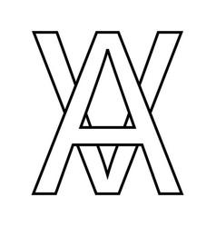 logo sign av va icon sign interlaced letters a v vector image