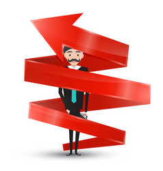 man in suit inside red arrow vector image