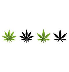 marijuana leaf or cannabis leaf weed icons vector image