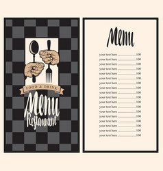 Menu with hands and utensils vector